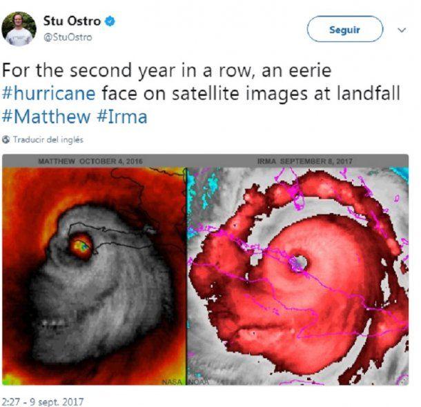 El meteorólogo Stu Ostro, mostró otra imagen satelital en la que el huracán tiene cara