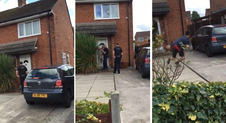 La policía entró a su casa para detenerlo y él escapó por la ventana