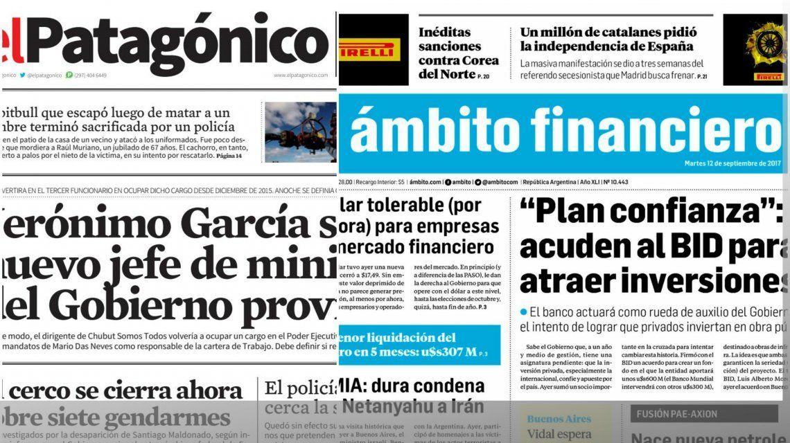 Tapas de diarios del martes 12 de septiembre de 2017
