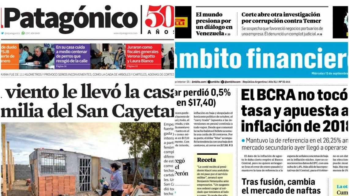 Tapas de diarios del miércoles 13 de septiembre de 2017