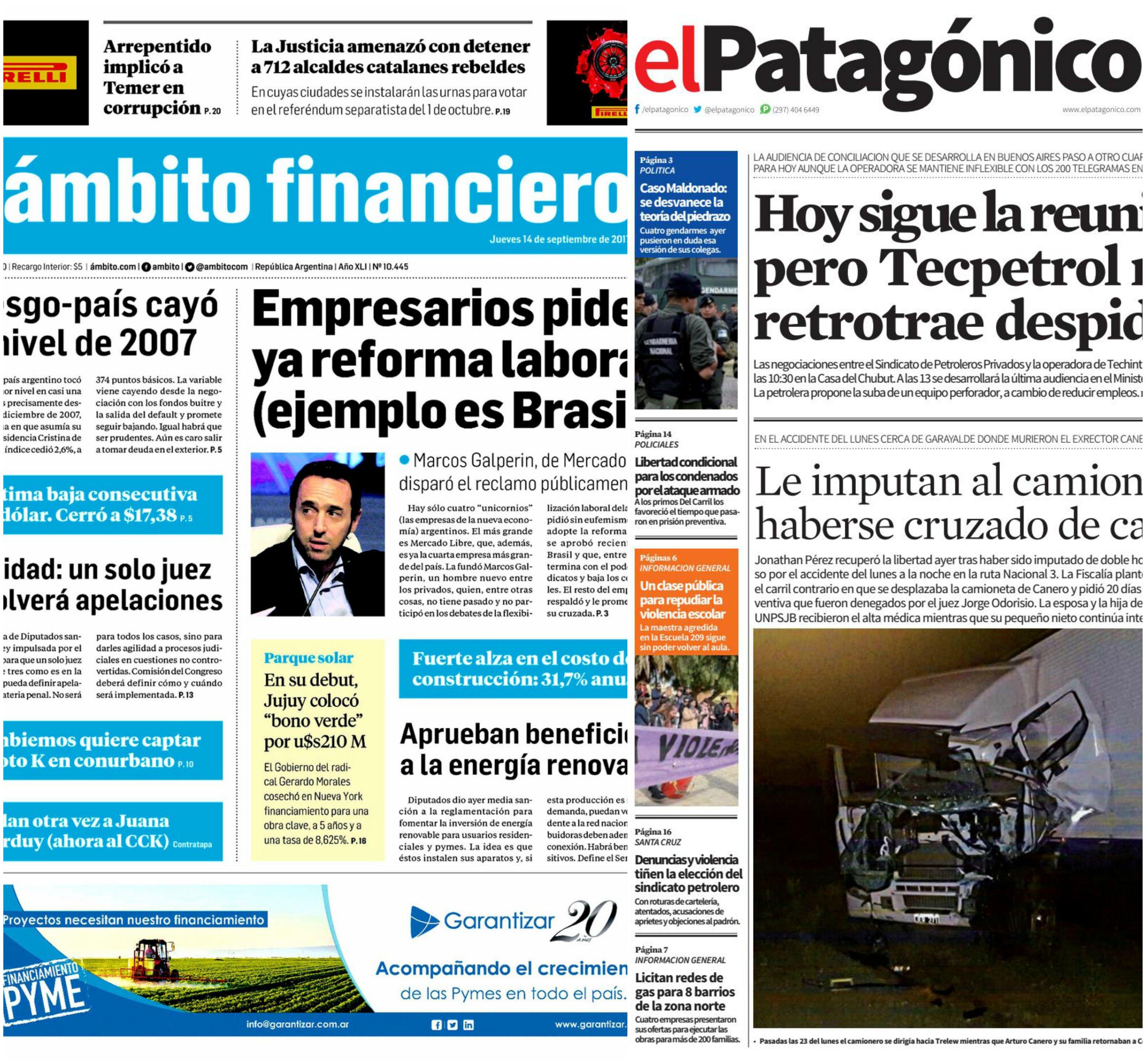 Tapas de diarios del jueves 14 de septiembre de 2017