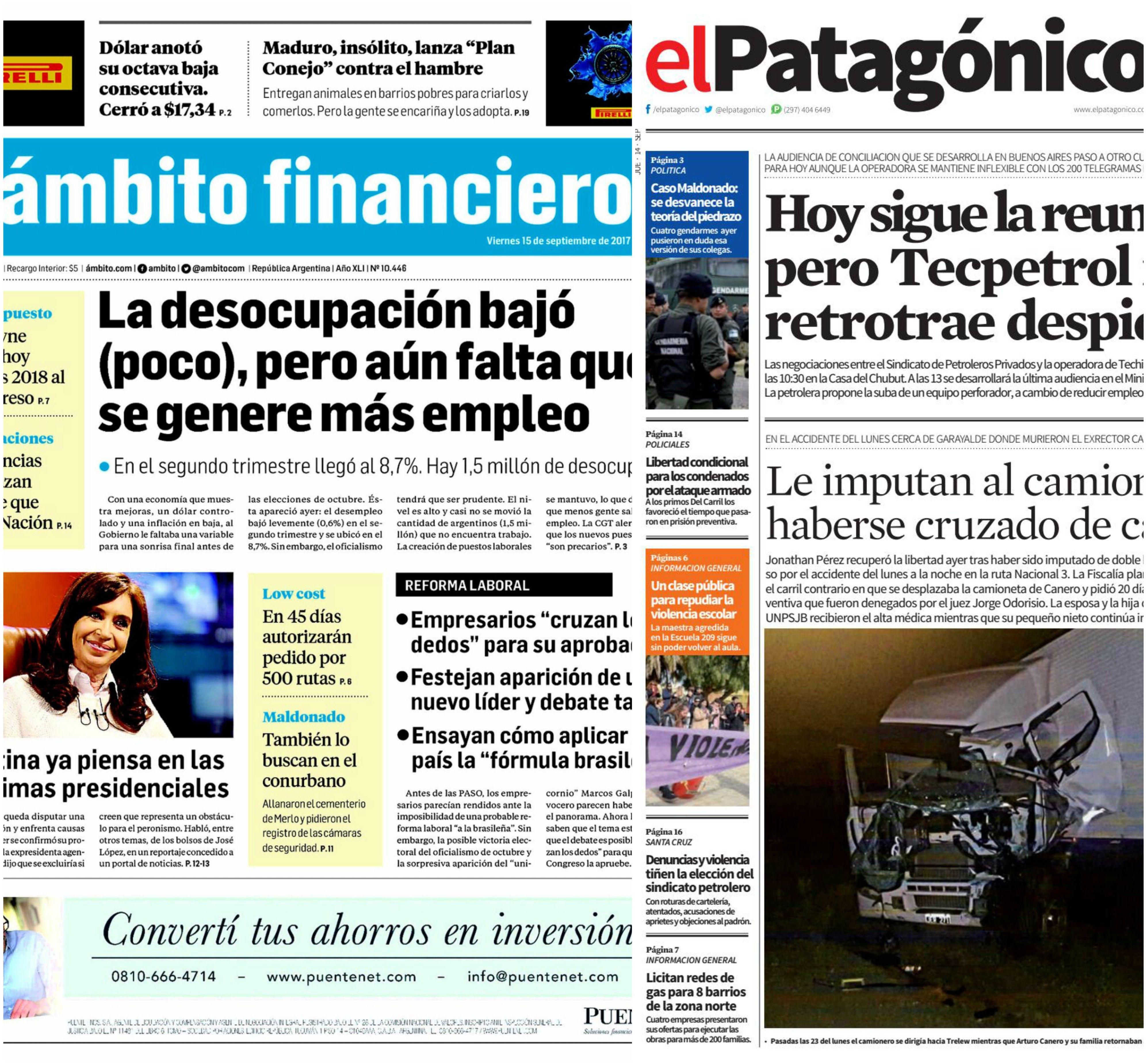 Tapas de diarios del viernes 15 de septiembre de 2017