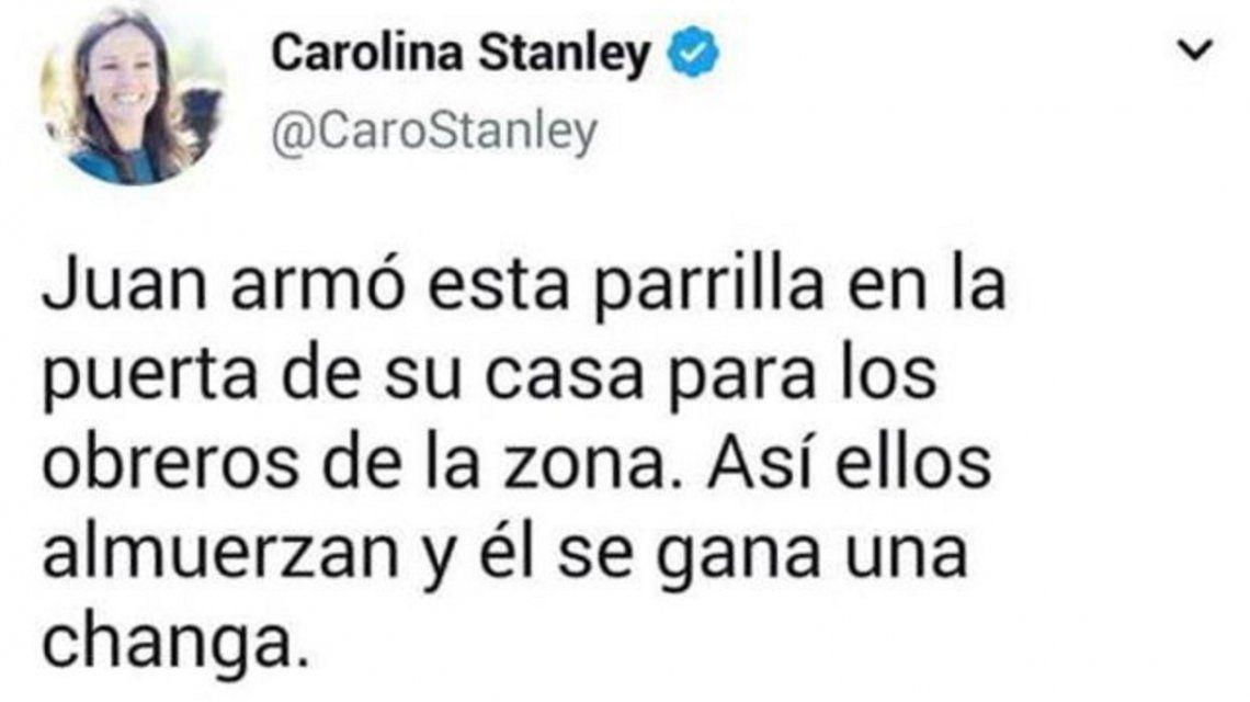 El polémico tuit de Carolina Stanley