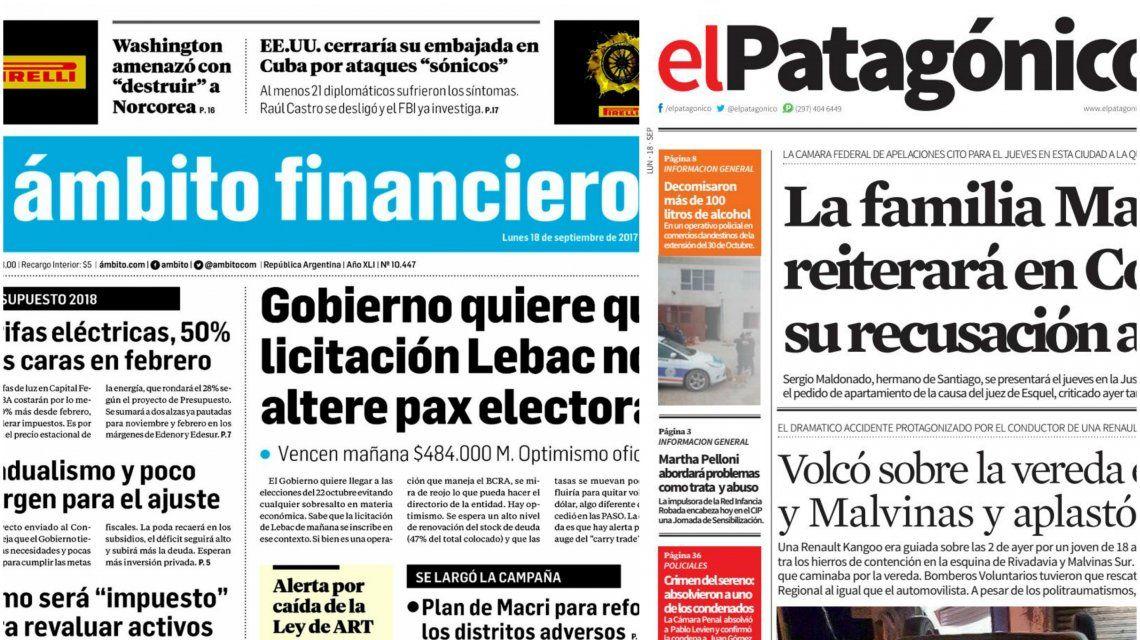 Tapas de diarios del lunes 18 de septiembre de 2017