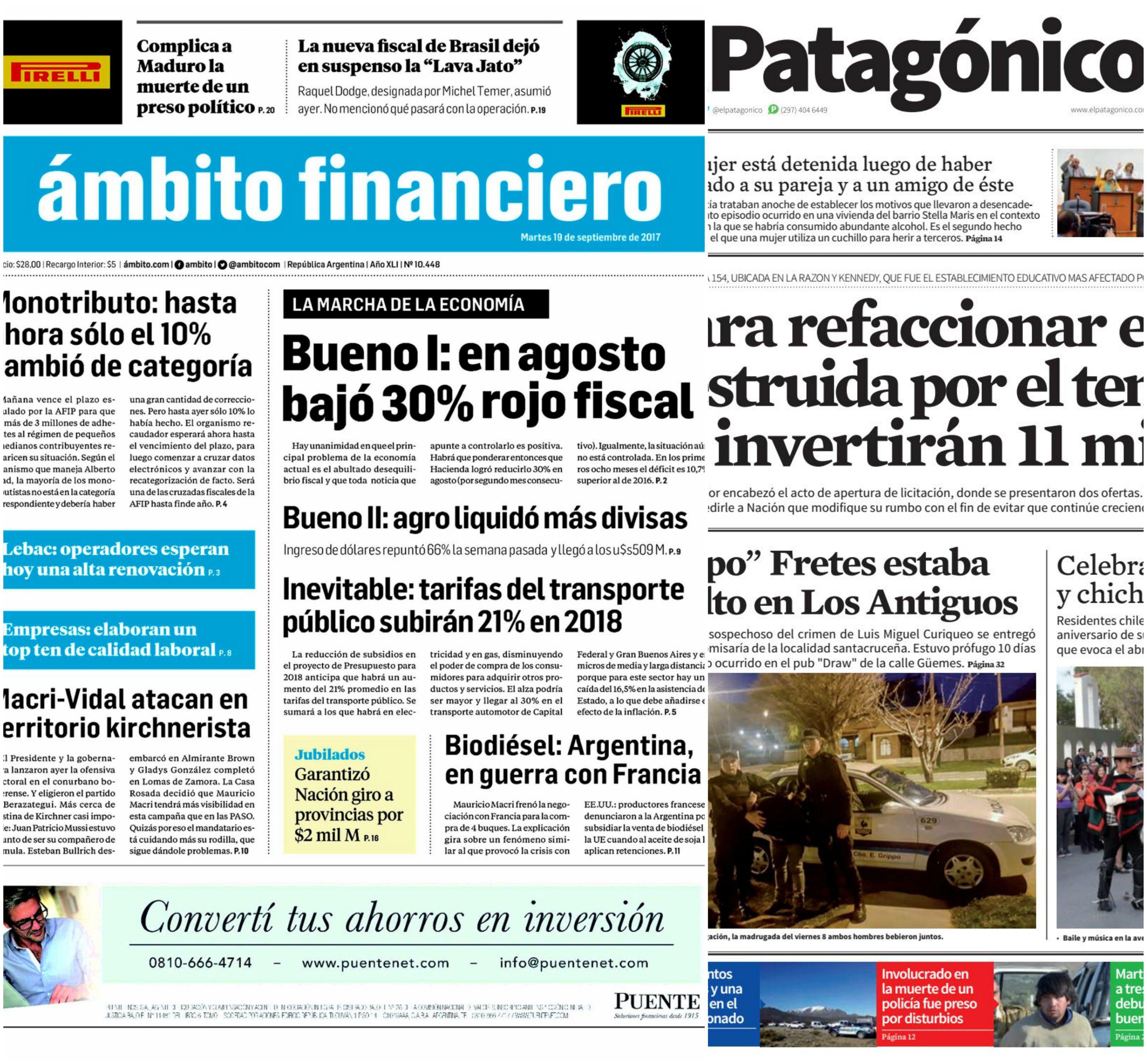 Tapas de diarios del martes 19 de septiembre de 2017