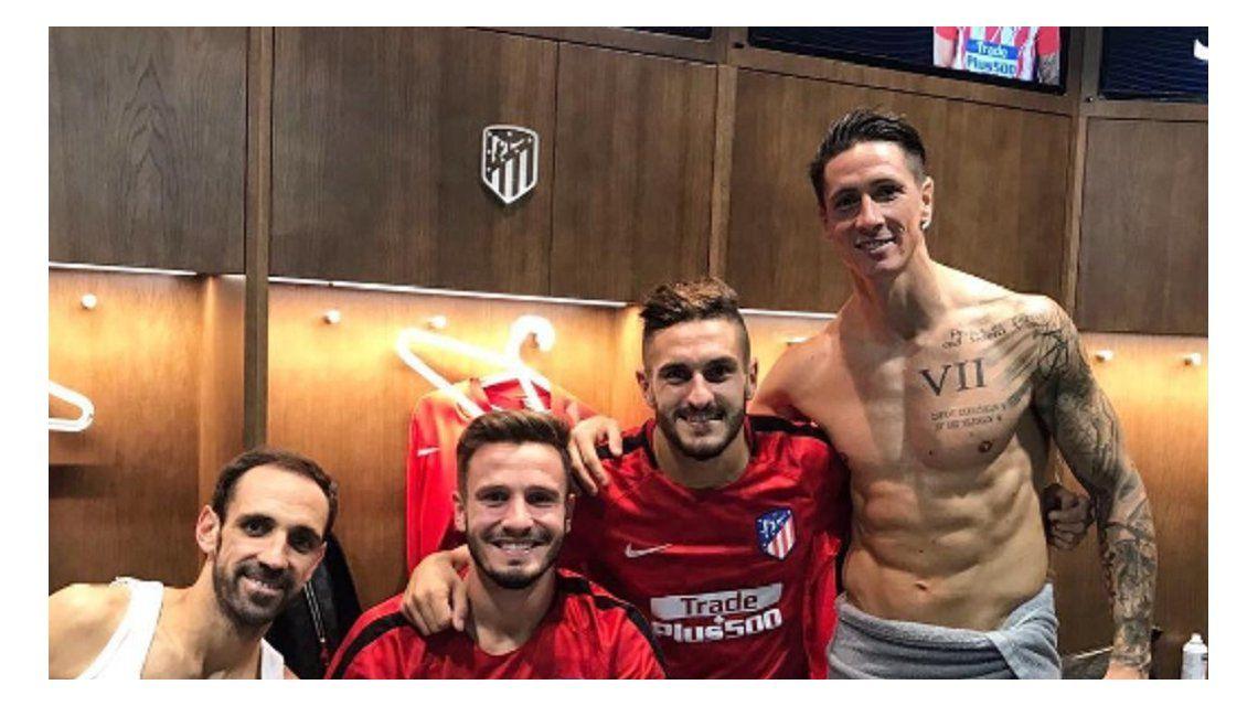 Los jugadores del Atlético celebraron y el Niño Torres apareció algo excitado