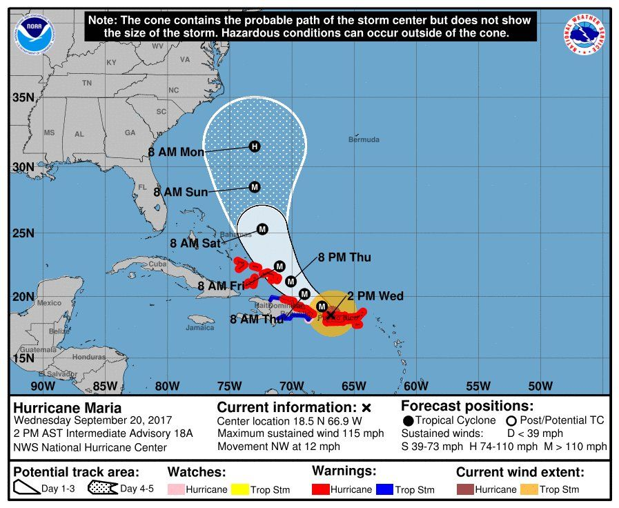 El paso de María por las Antillas menores y Puerto Rico