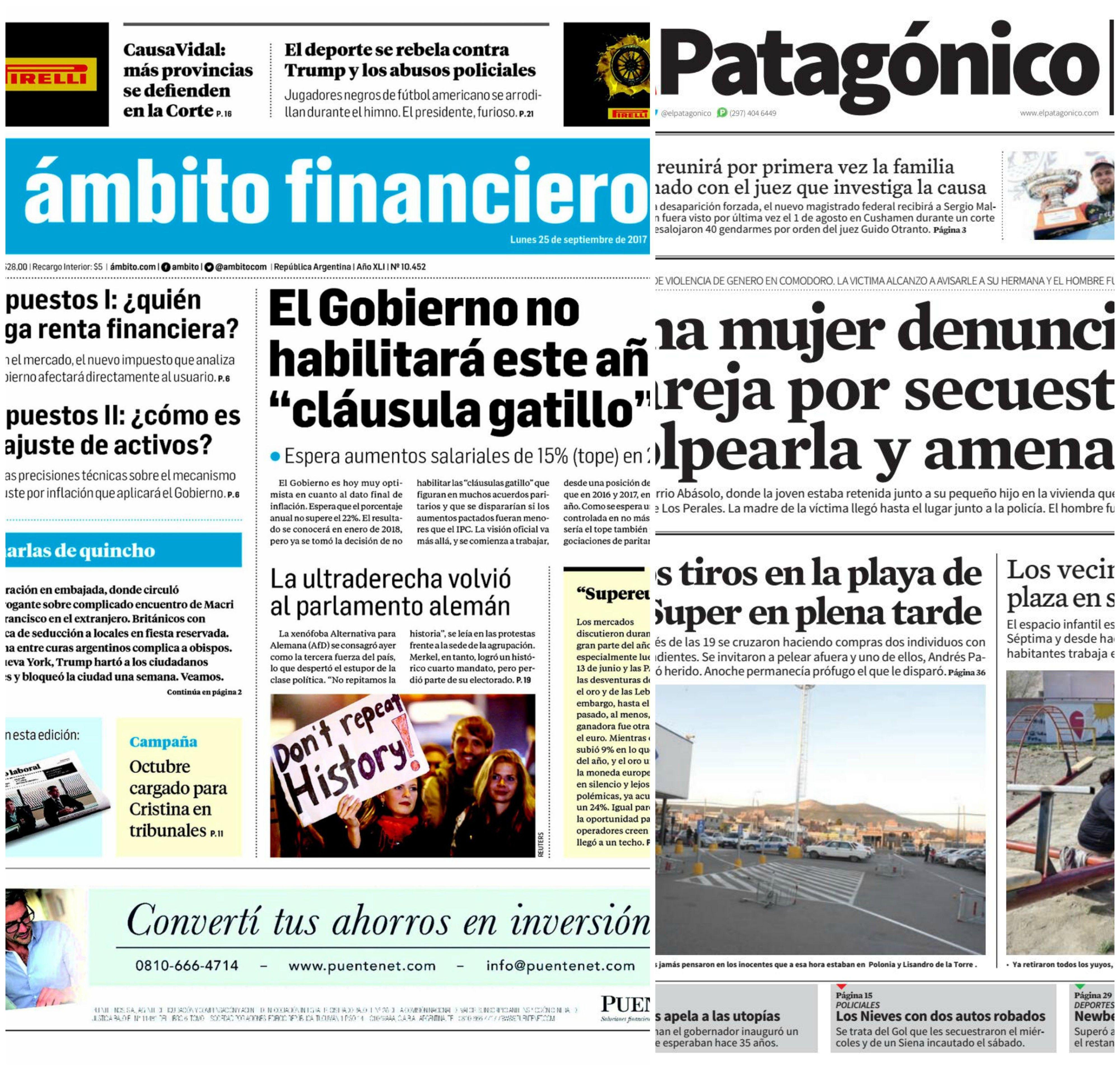 Tapas de diarios del lunes 25 de septiembre de 2017
