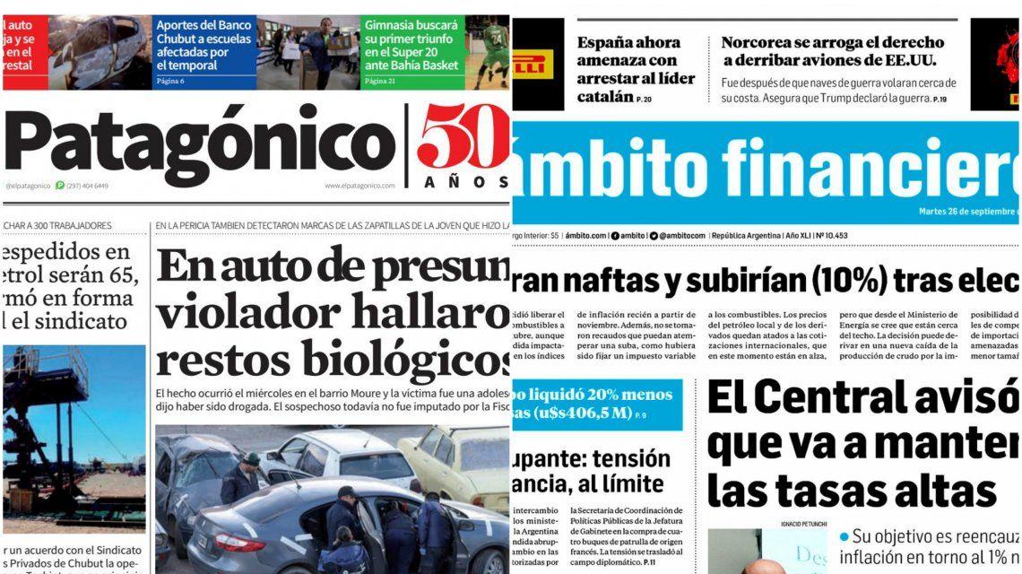 Tapas de diarios del martes 26 de septiembre de 2017
