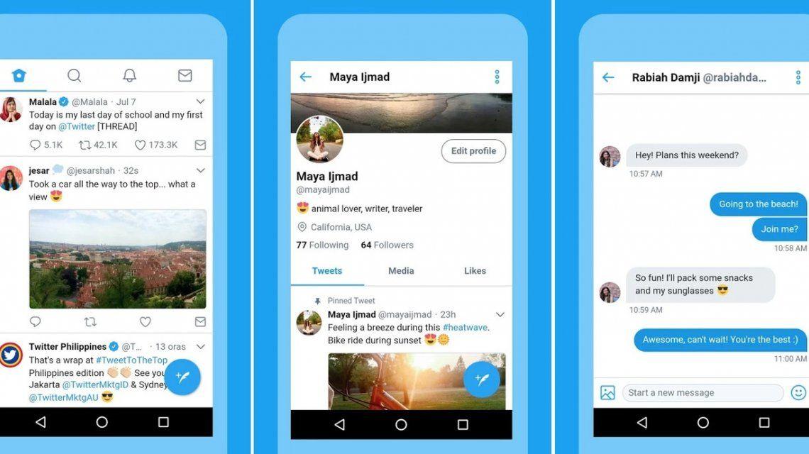 Twitter presentó una versión más ligera de su app