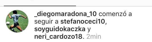 No es Messi: Neri Cardozo, el único futbolista argentino al que sigue Maradona en Instagram