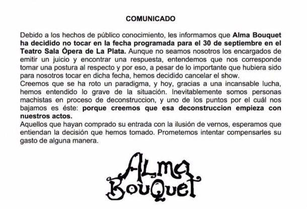 """El comunicado de """"Alma Bouquet"""" al que hace referencia Macarena Nutty"""