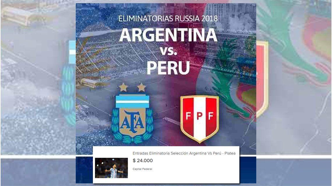 Casi tres salarios mínimos para ver Argentina - Perú: los insólitos precios de reventa