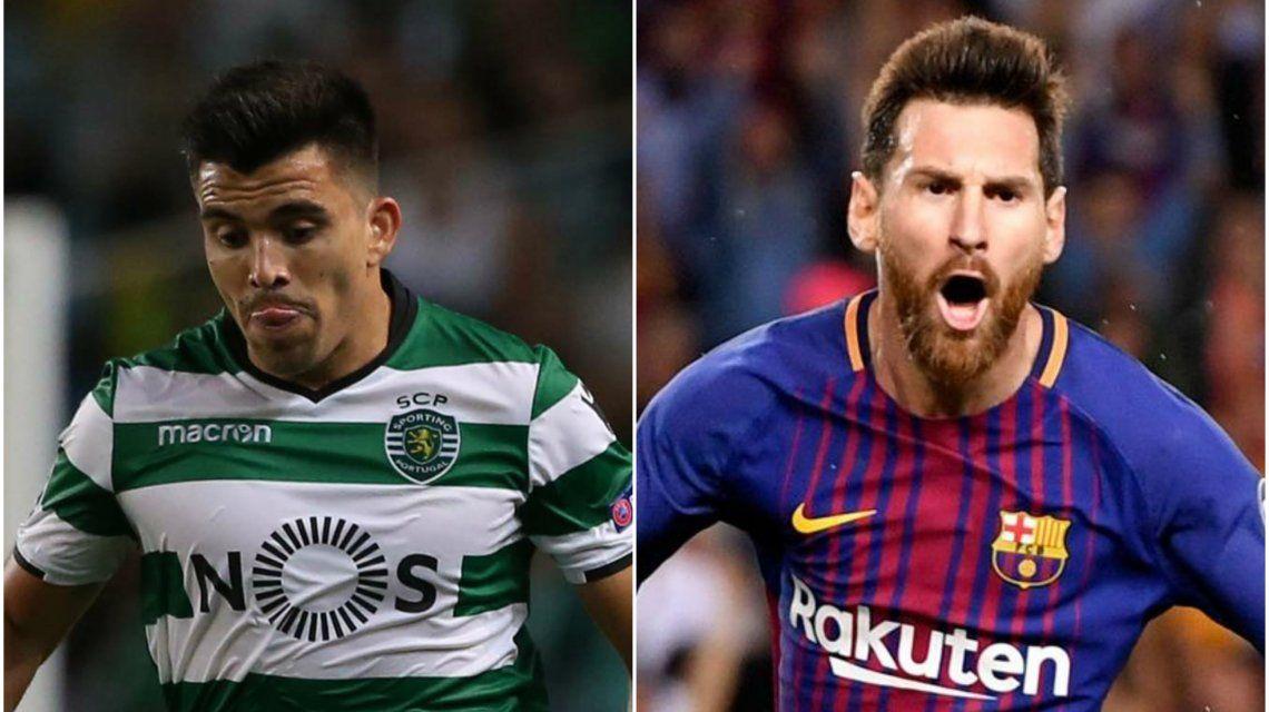 Marcos Acuña y Lionel Messi