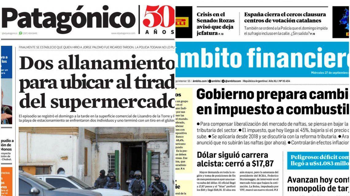 Tapas de diarios del miércoles 27 de septiembre de 2017