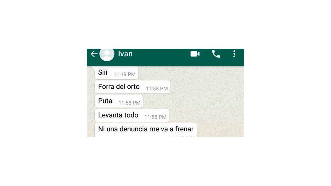 El whatsapp que le envió tras la denuncia penal