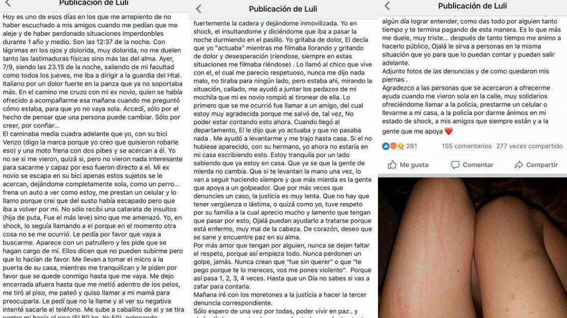 El relato de Lourdes en las redes sociales