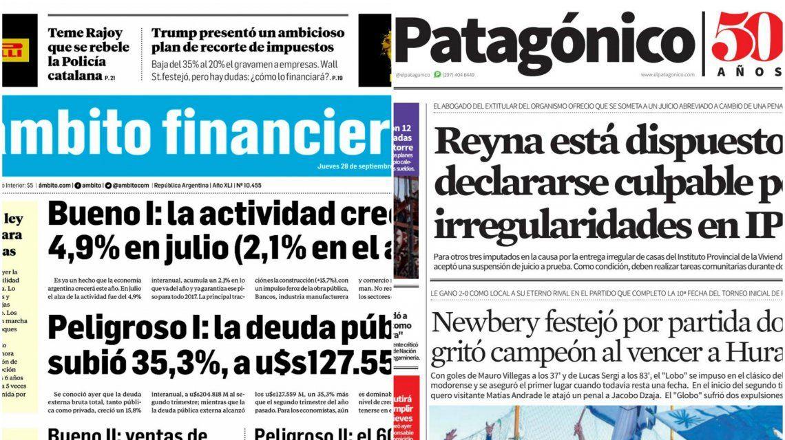 Tapas de diarios del jueves 28 de septiembre de 2017