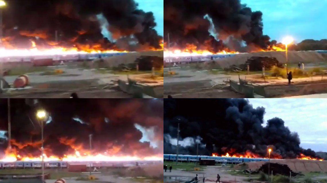 Gigantesco incendio en un depósito de trenes en desuso de la línea Mitre