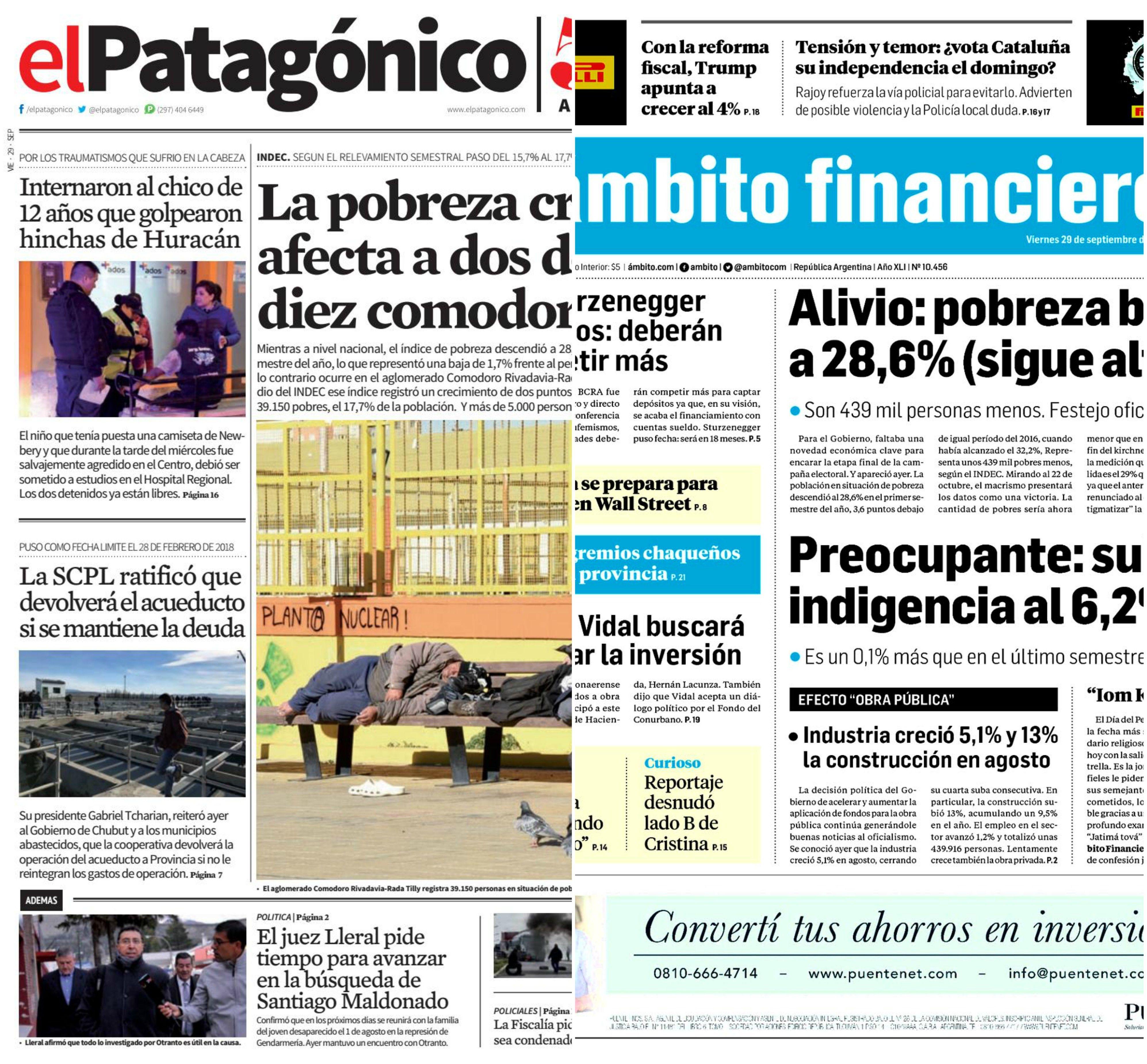 Tapas de diarios del viernes 29 de septiembre de 2017