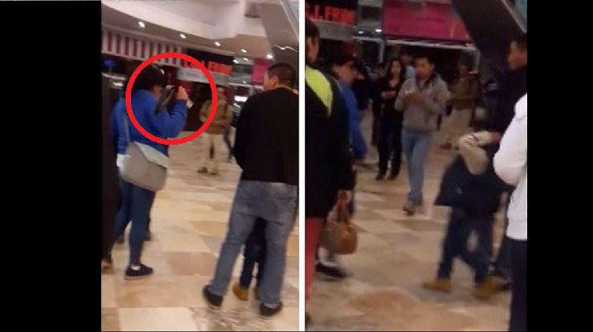 Momentos en los que esta mujer golpea a su hijo con un cinturón