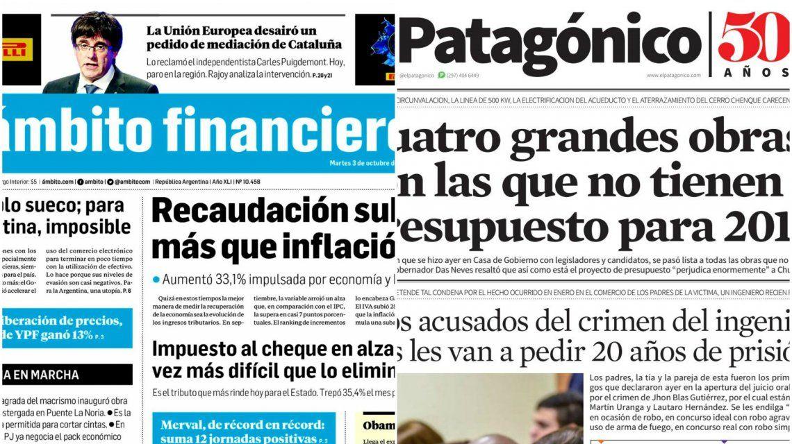 Tapas de diarios del martes 3 de octubre de 2017