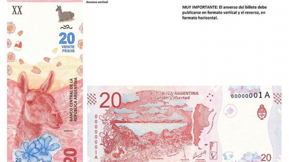 Comenzó a circular el nuevo billete de 20 pesos