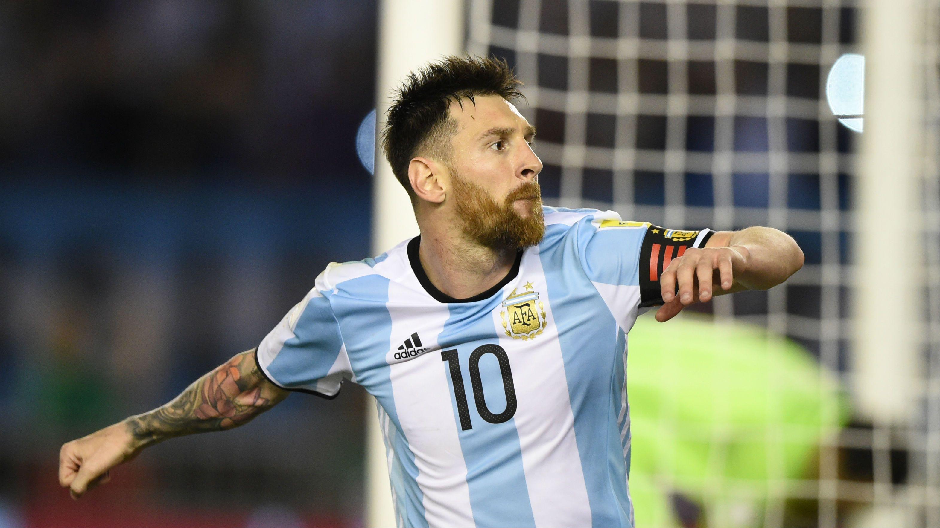 Lionel Messi celebrando el gol para Argentina