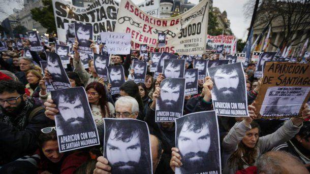 Una de las masivas marchas por la aparición de Santiago Maldonado<br>