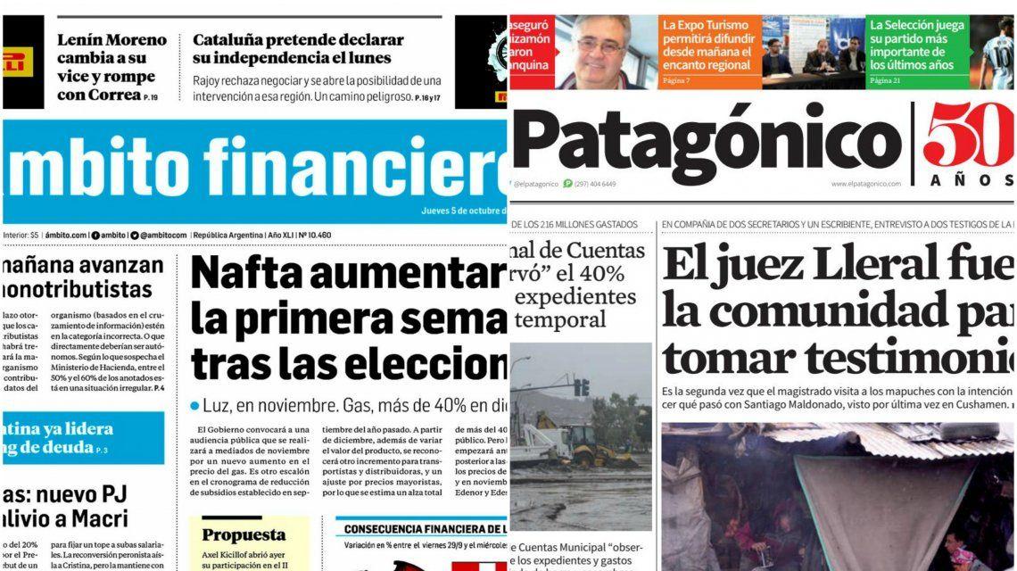 Tapas de diarios del miércoles 5 de octubre de 2017