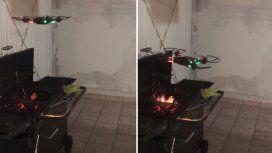 Intentó avivar el fuego de asado con un drone pero lo terminó cocinando