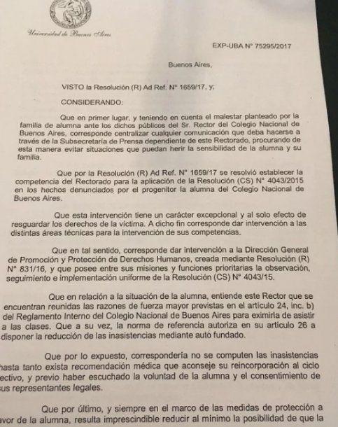 Resolución firmada por el rector de la UBA, Alberto Barbieri