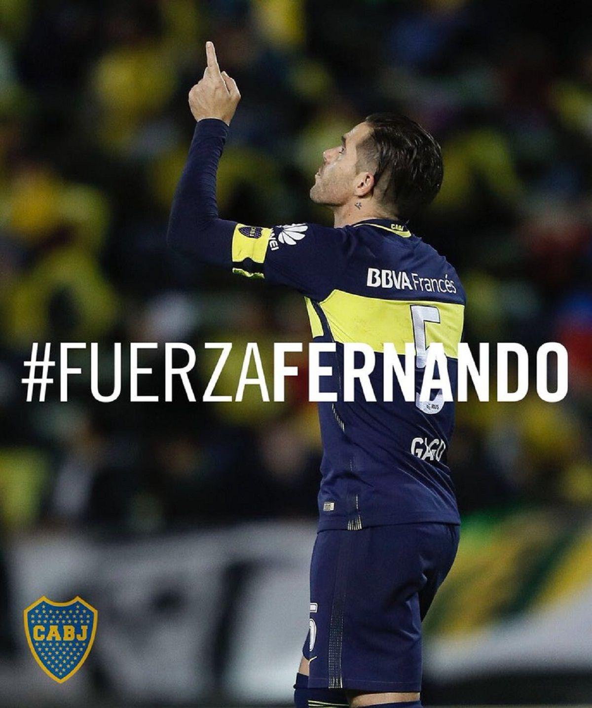 {altText(#FuerzaFernando fue el hashtag que promovió Boca desde su cuenta oficial<br>,El mensaje de Boca para Fernando Gago tras la dura lesión)}