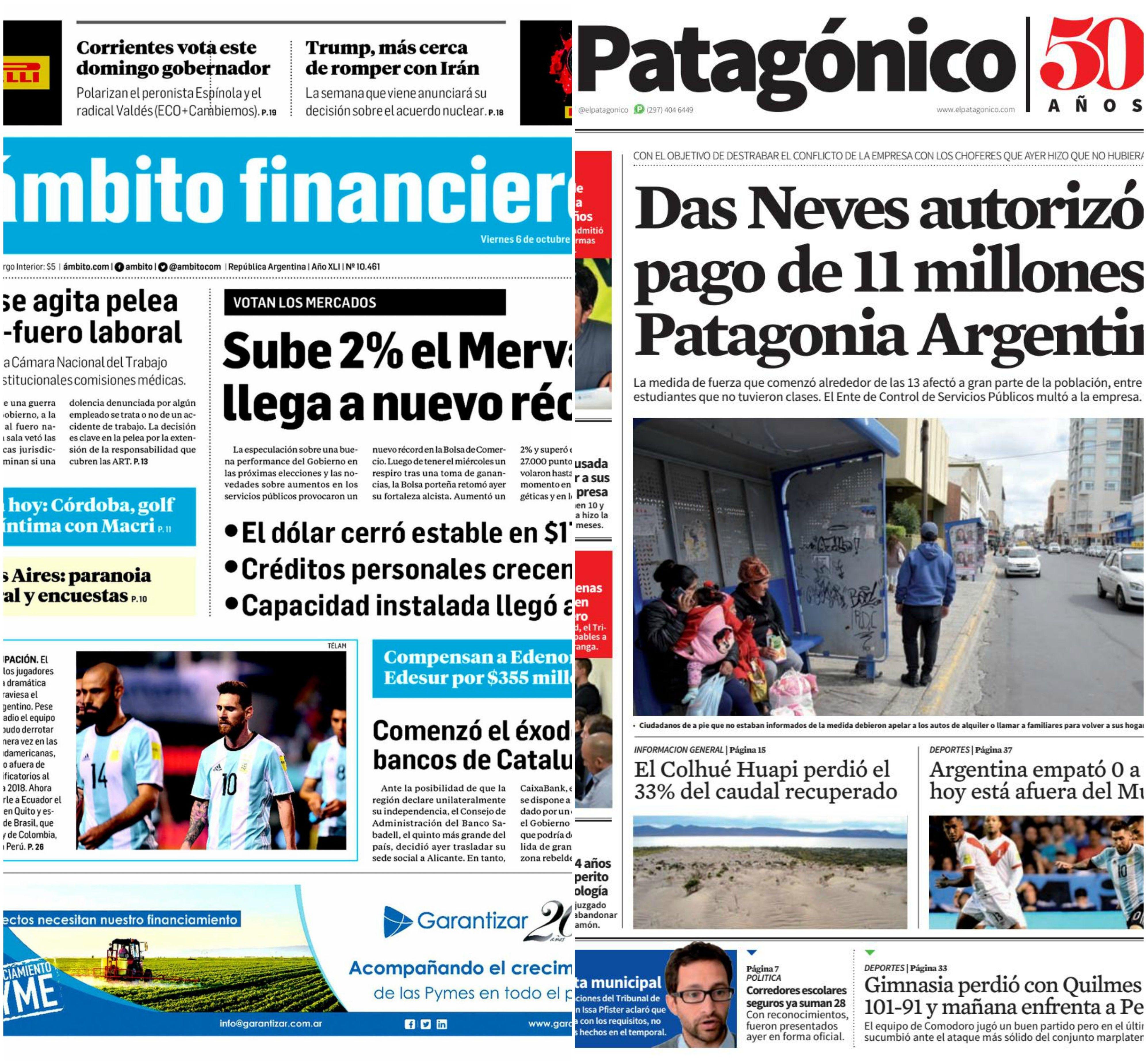 Tapas de diarios del viernes 6 de octubre de 2017