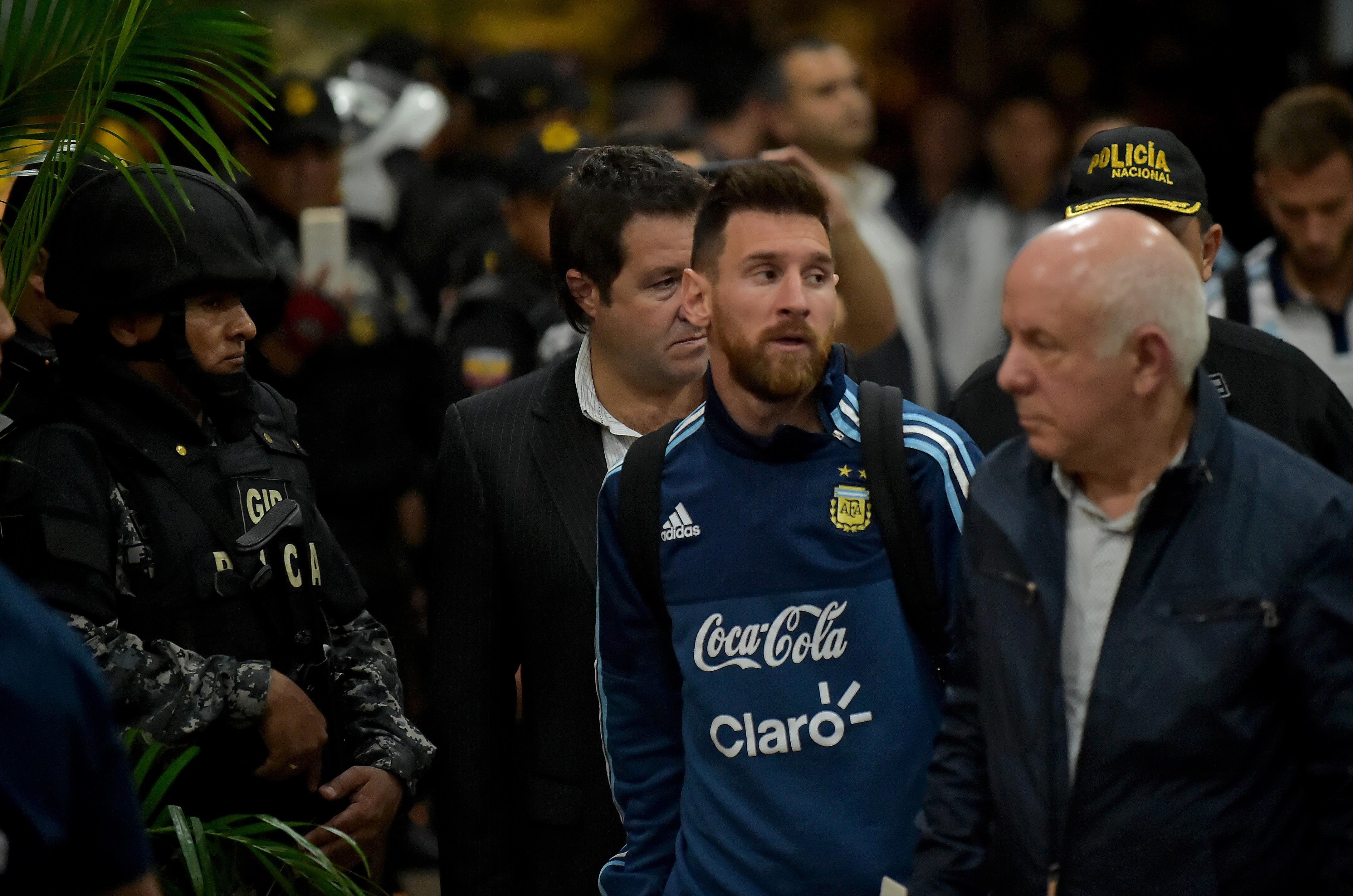 Lionel Messi al llegar a Ecuador