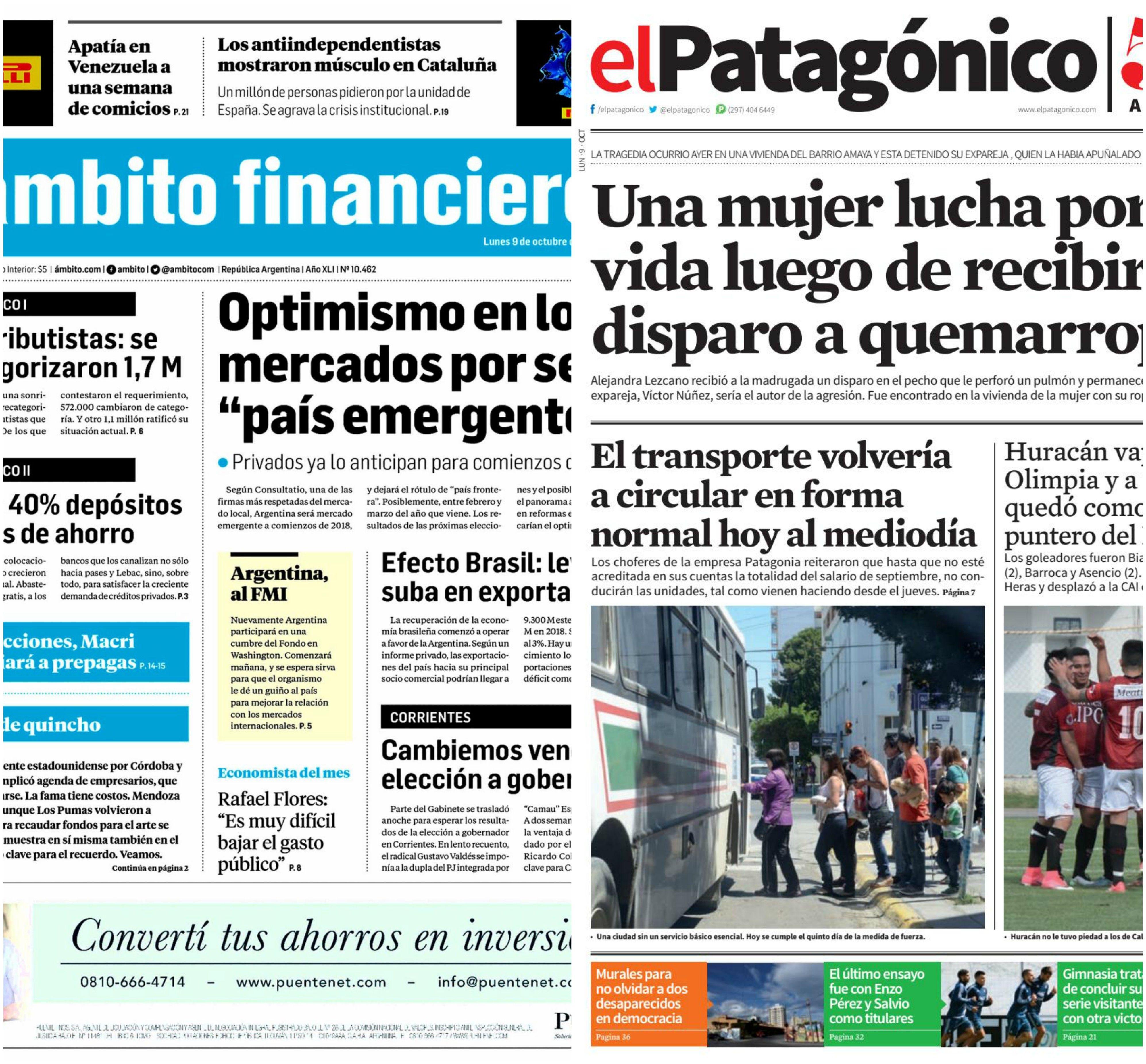Tapas de diarios del lunes 9 de octubre de 2017