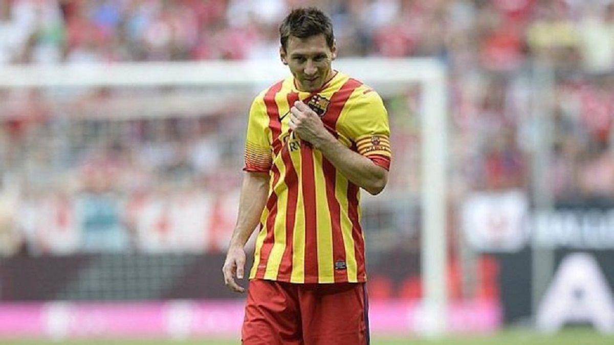 Leo Messi con la Senyera