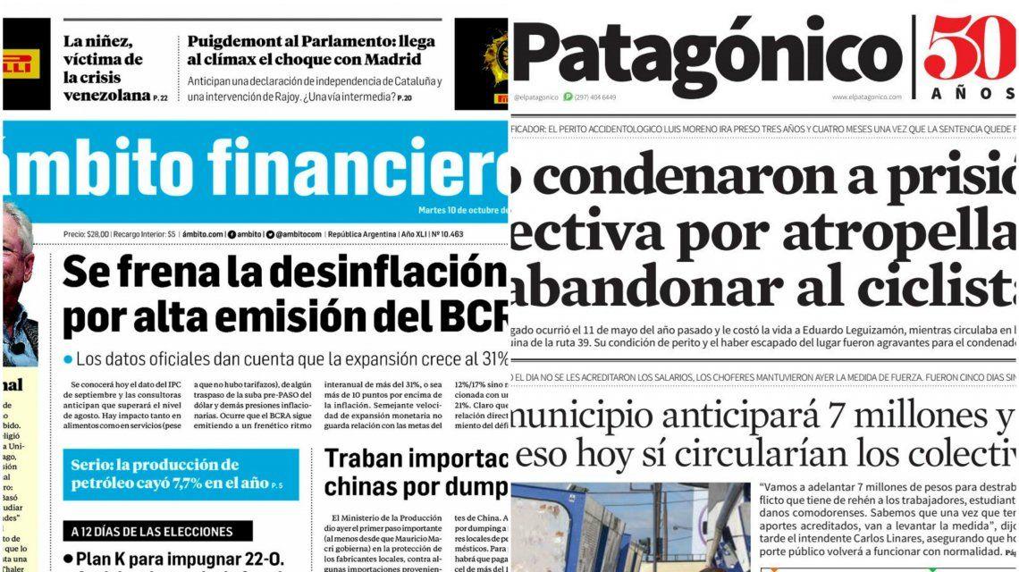 Tapas de diarios del martes 10 de octubre de 2017