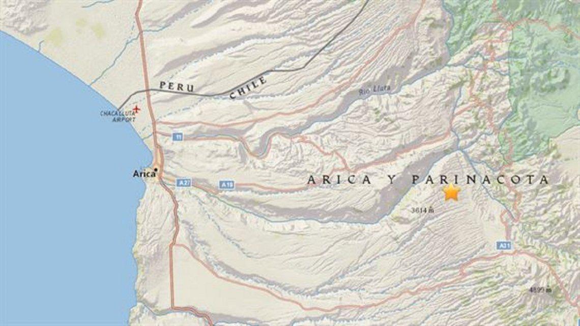 El epicentro de uno de los sismos de Chile