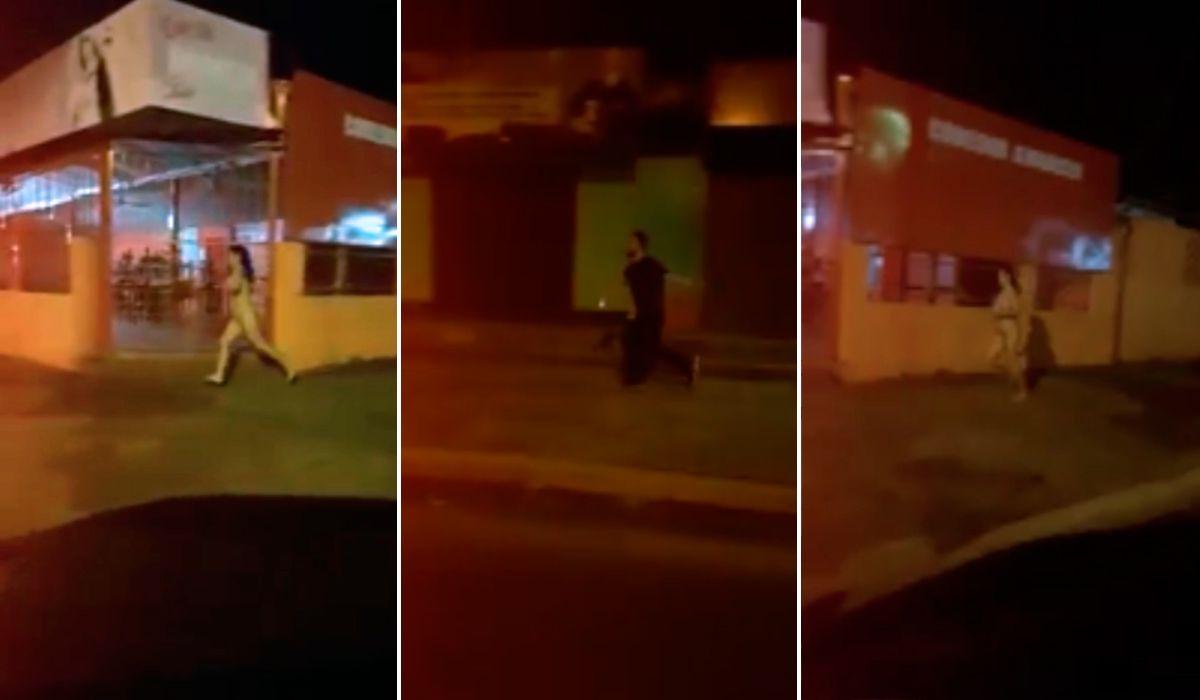 El ex le sacó el celular y ella salió a correrlo desnuda por la calle