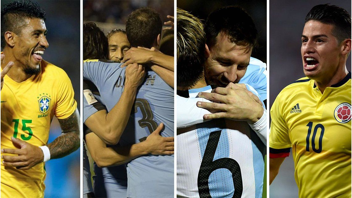 Brasil, Uruguay, Argentina y Colombia: los cuatro clasificados de Sudamérica