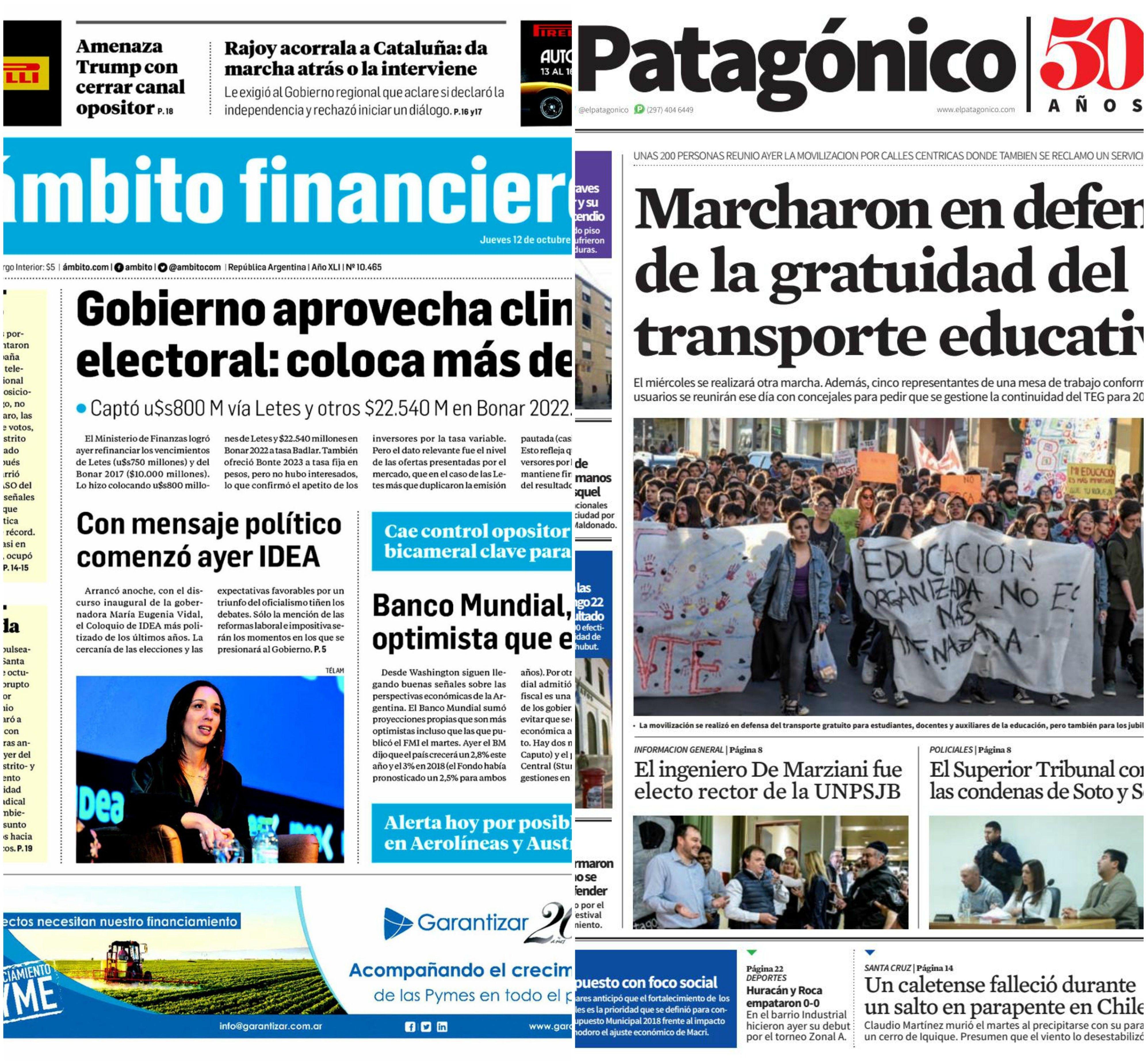 Tapas de diarios del jueves 12 de octubre de 2017