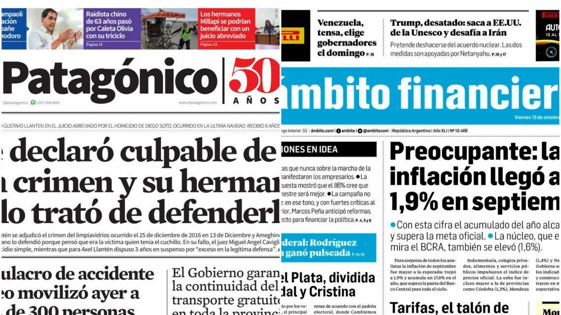 Tapas de diarios del viernes 13 de octubre de 2017