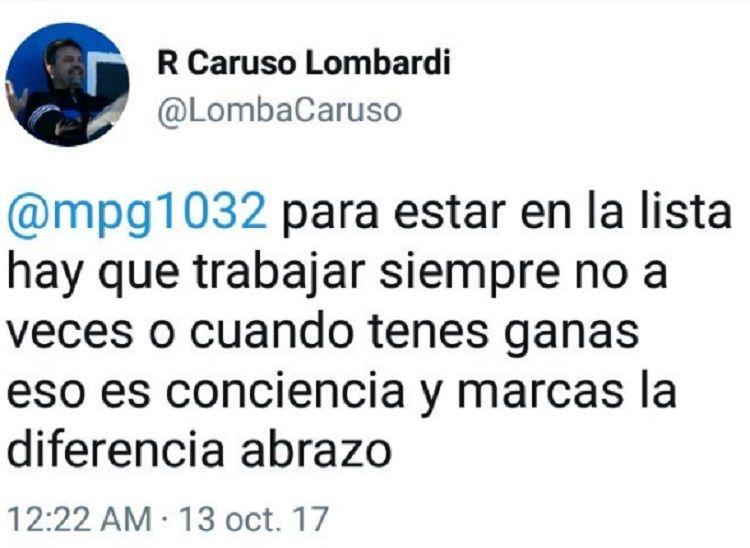 Caruso Lombardi borró a Matías Pérez García y se cruzaron ¡por Twitter!