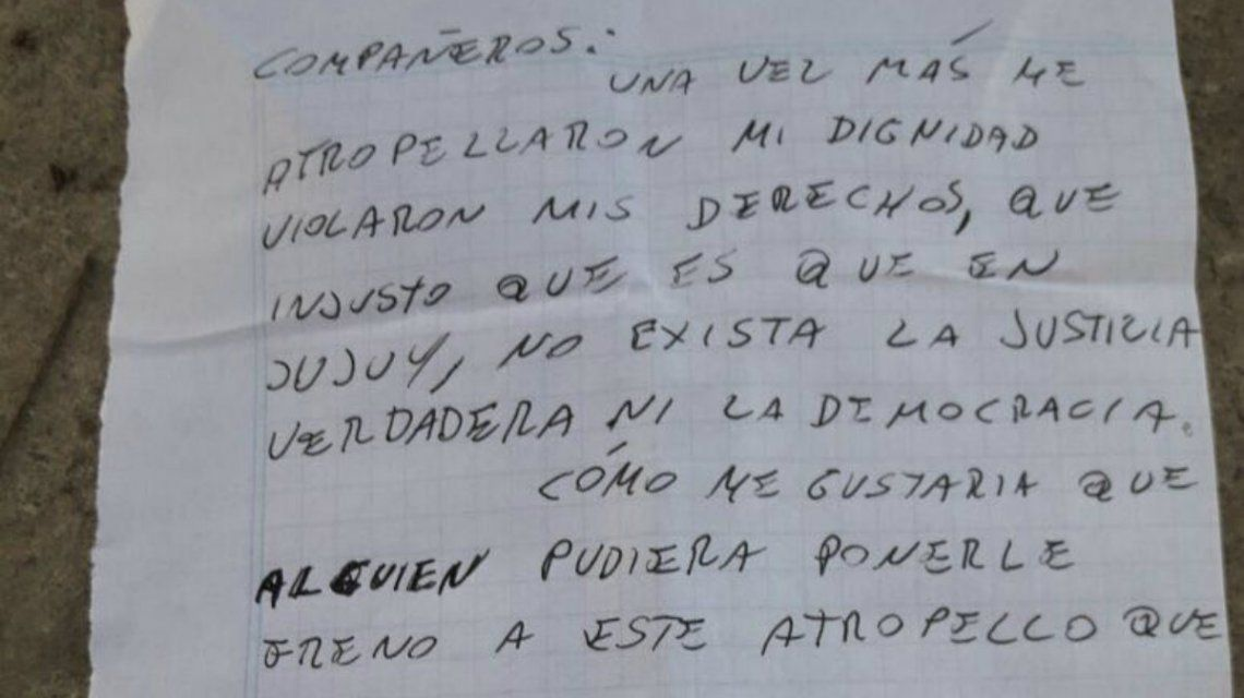 La carta enviada por Sala desde el penal Alto Comedero