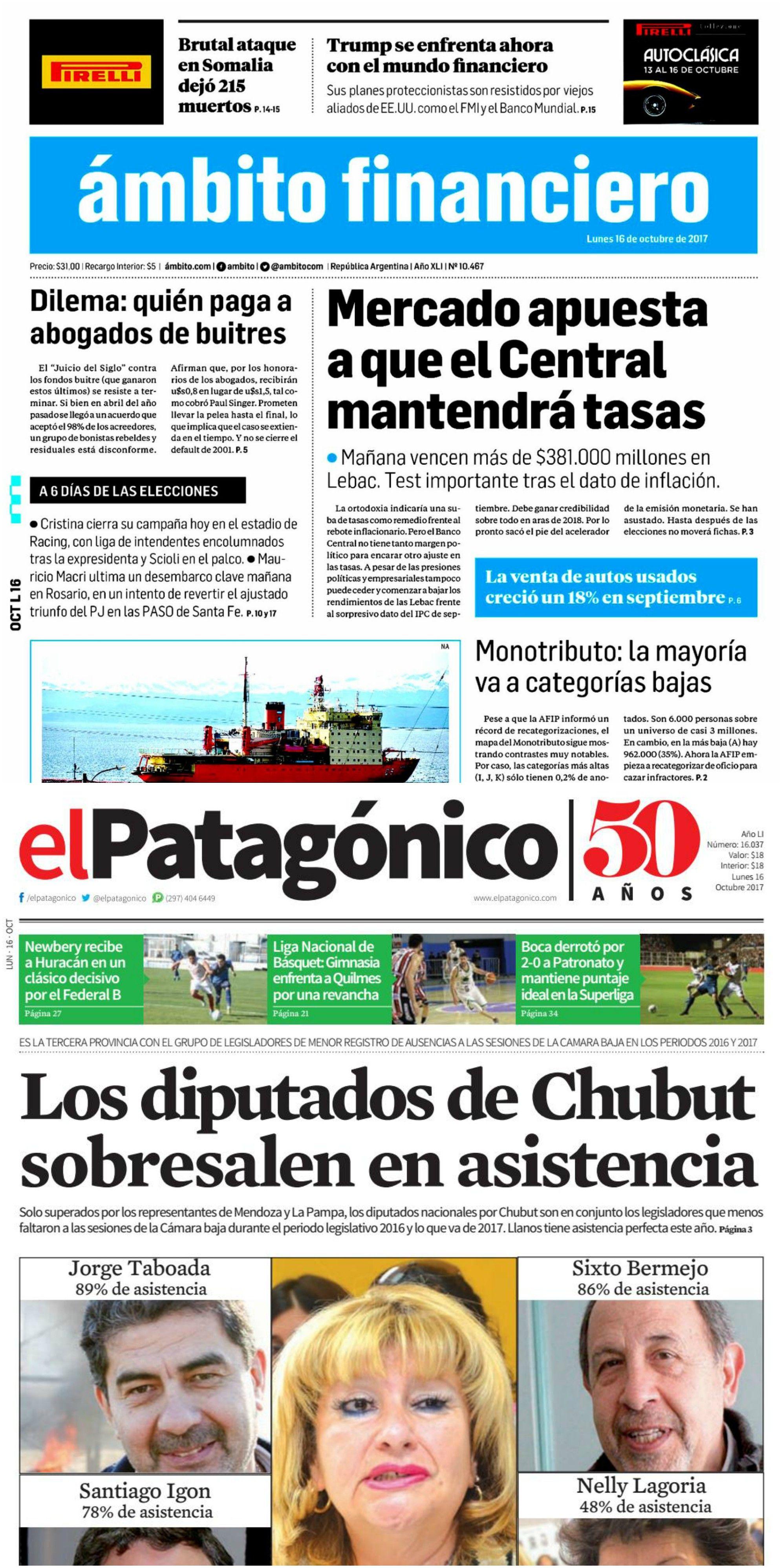 Tapas de diarios del lunes 16 de octubre de 2017