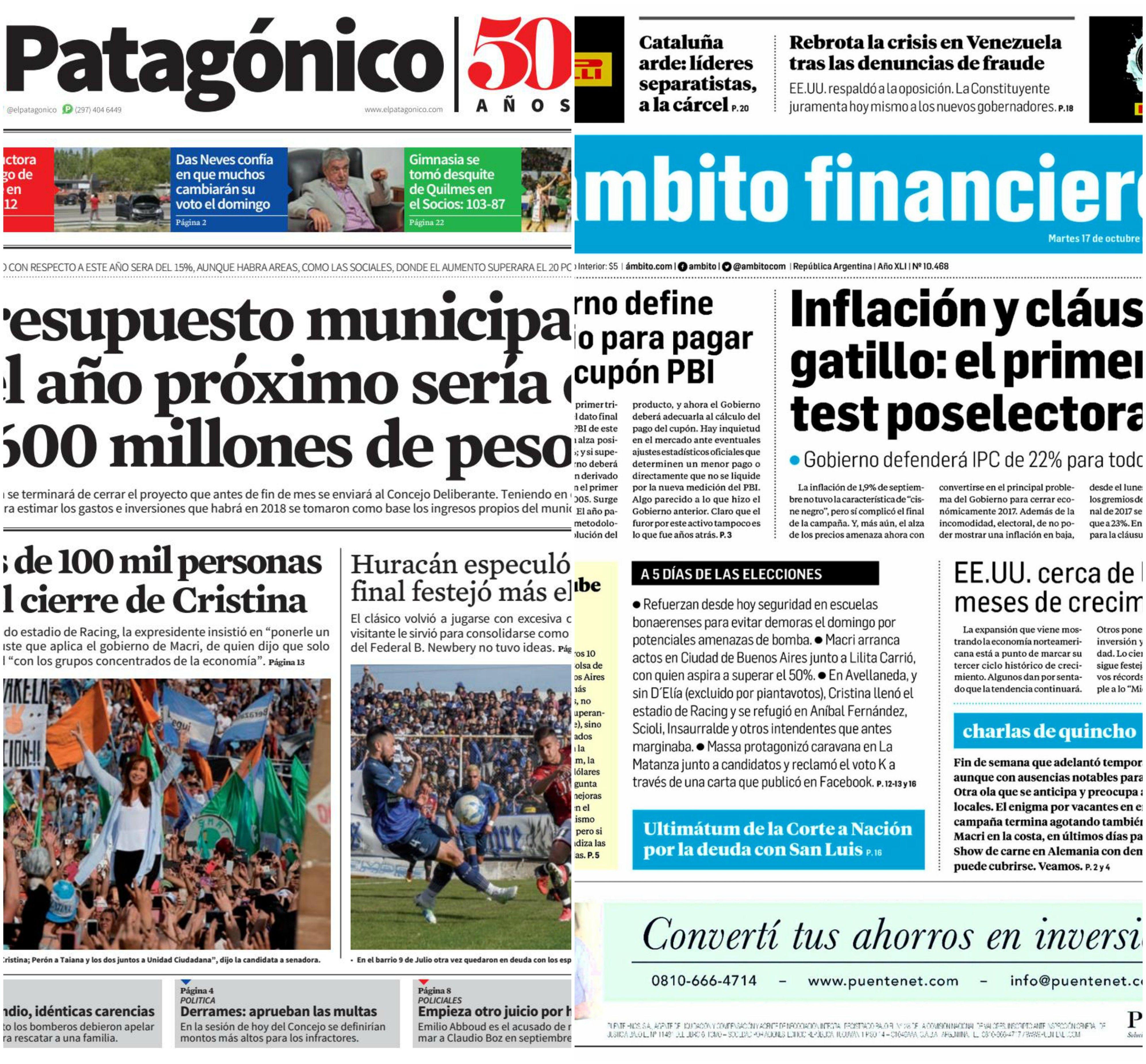 Tapas de diarios del martes 17 de octubre de 2017
