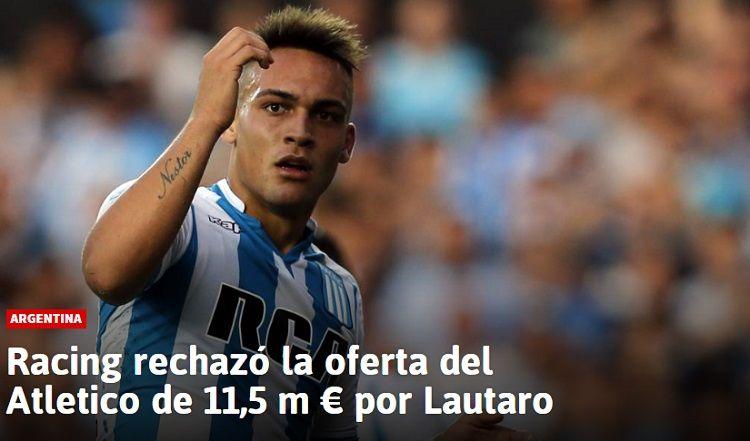 Atlético Madrid ofertó por Lautaro Martínez y Racing le dijo que no
