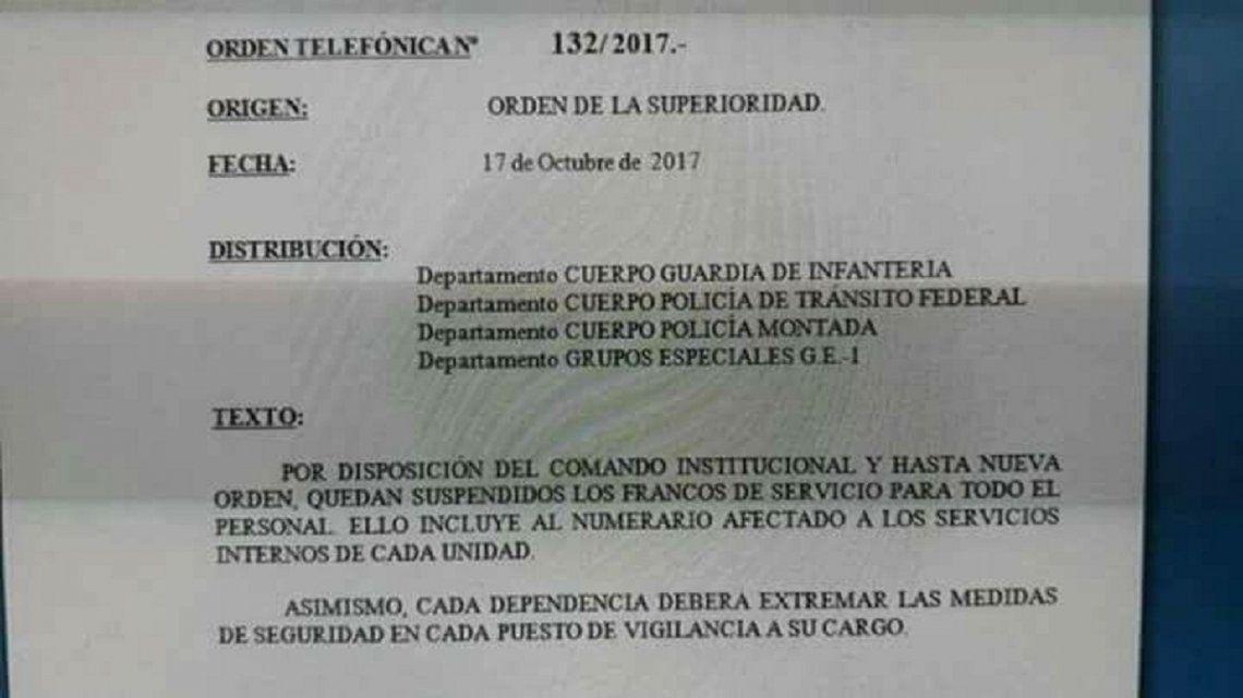 Orden de acuartelamiento por Santiago Maldonado