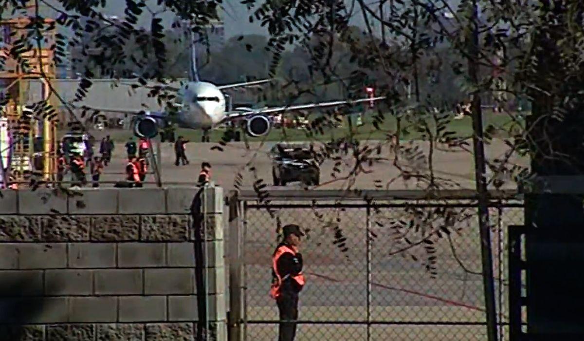 Acaba de aterrizar el avión en Aeroparque